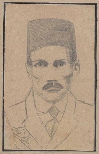 Hayatını kaybeden Fahri'nin, öğrencilerden Abdurrahman tarafından çizilen karakalem portresi (Şaka Dergisi_nin 5. Sayısı Fahri_ye ihtaf edilmiştir.)